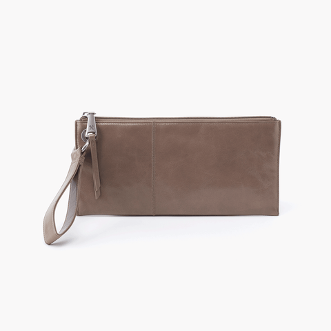 Vida Grey Taupe Leather Clutch Wristlet