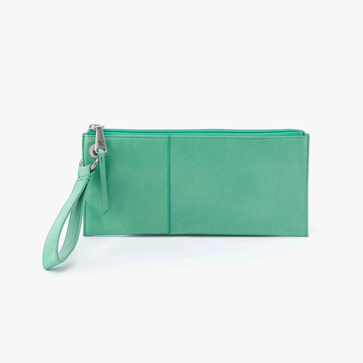 Vida Light Green Leather Clutch Wristlet