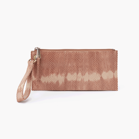 Vida Print Leather Clutch Wristlet