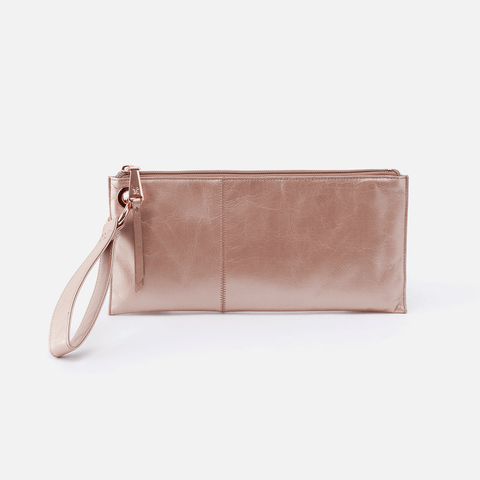 Vida Rose Gold Leather Clutch-Wristlet