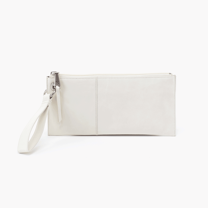 Vida White Leather Clutch Wristlet