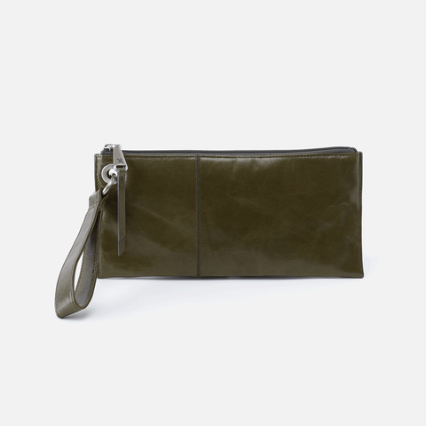 Vida Green Leather Wristlet