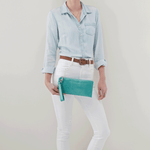 Vida Seafoam Leather Wristlet
