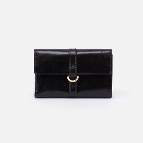 Vinn Black Leather Small Wallet