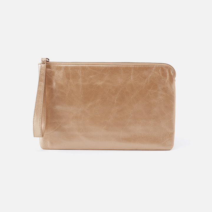 Wayfare Gold Leather Wristlet Clutch