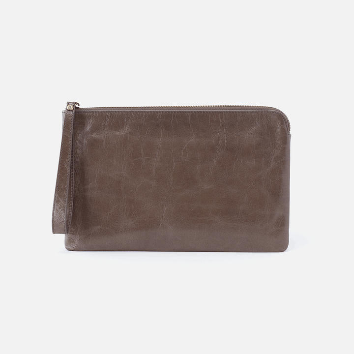 Wayfare Grey Leather Wristlet Clutch