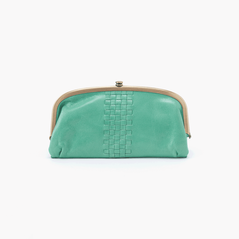 Weave Light Green Leather Large Wallet