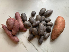 Purple sweet potatoes, blue potatoes, and yams- examples of what can be used in this recipe.