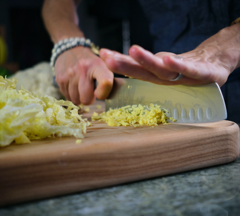 Cutting napa cabbage using a global santuko knife