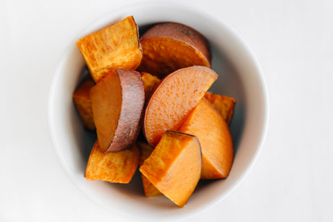 sweet potatoes cut, with the peel on
