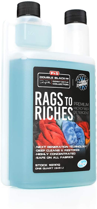 P&S Professional Detail Products - Rags to Riches - Premium Microfiber Detergent, Deep Cleans and Restores, Safe on All Fabrics, Highly Concentrated, Next Generation Cleaning Technology (1 Quart)