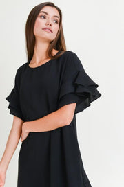 Ruffled Sleeved Little Black Dress