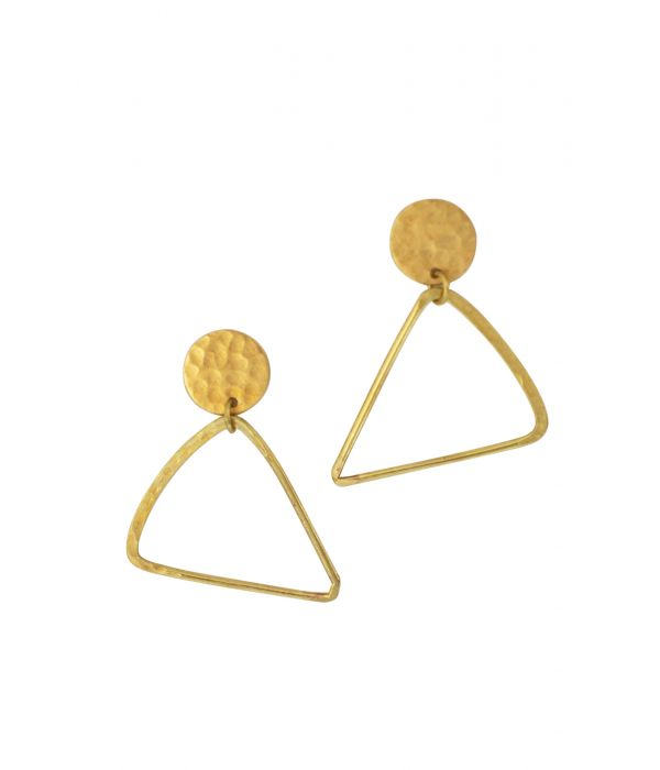 Brass Triangle Earrings | Fairtrade Certified
