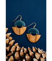 handmade fairtrade wood navy earrings