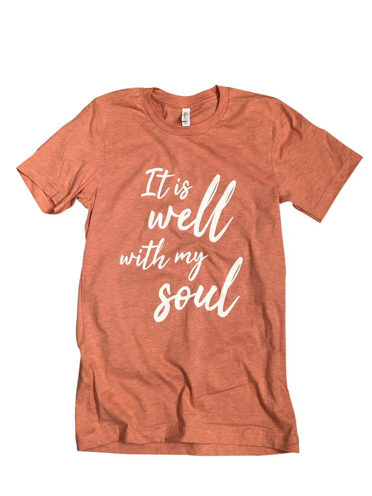 It is well with my soul! This beautiful handcrafted design is printed on a Heather Prism Sunset T-Shirt.