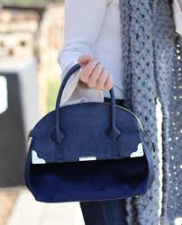 Freedom Bag in Navy with Velvet Back and Bottom- Long Strap Included