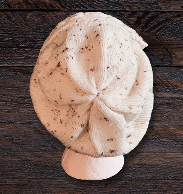 Cream Slouchy Hat - handknitted in South Carolina