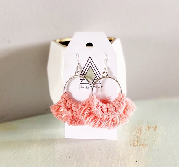Pink Round Macrame Earrings