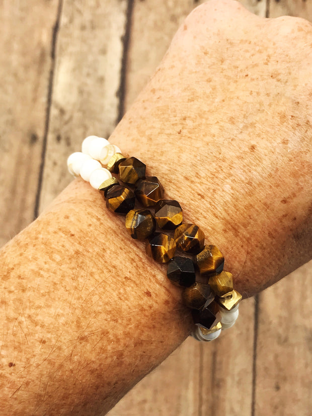 Geometric Tiger's Eye + Natural Shell --  Freedom Bracelet