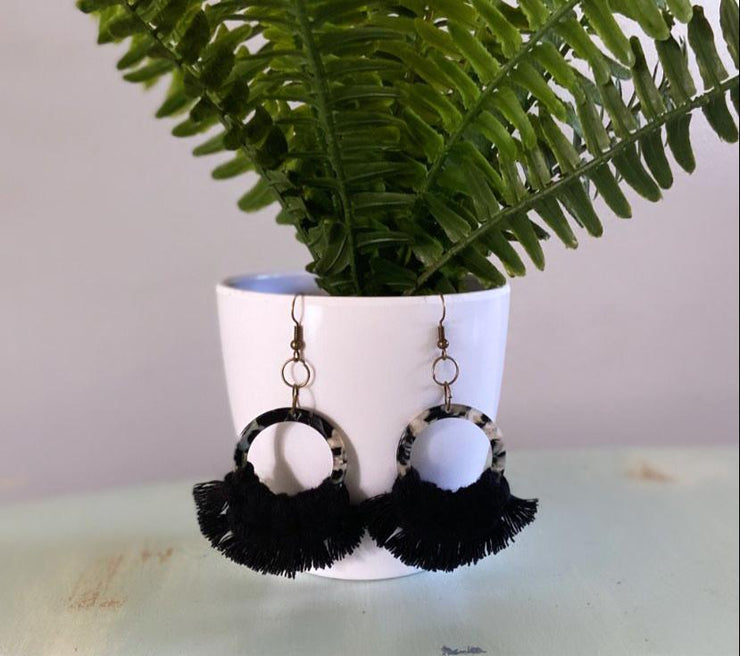 Black Tortoise Shell Earrings