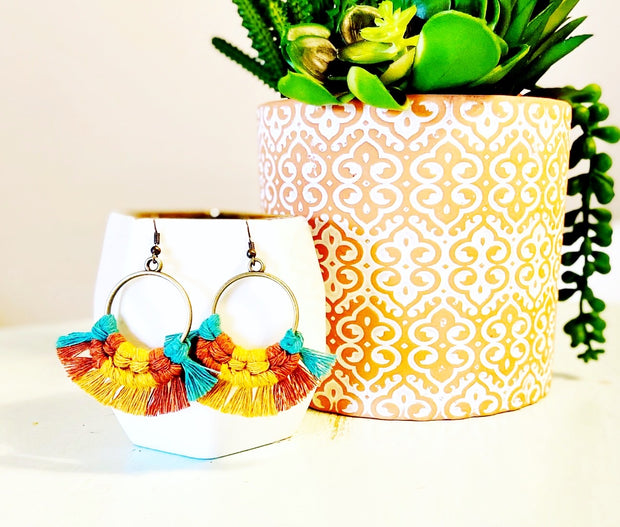 Mustard + Cinnamon Multicolor Round Macrame Earrings
