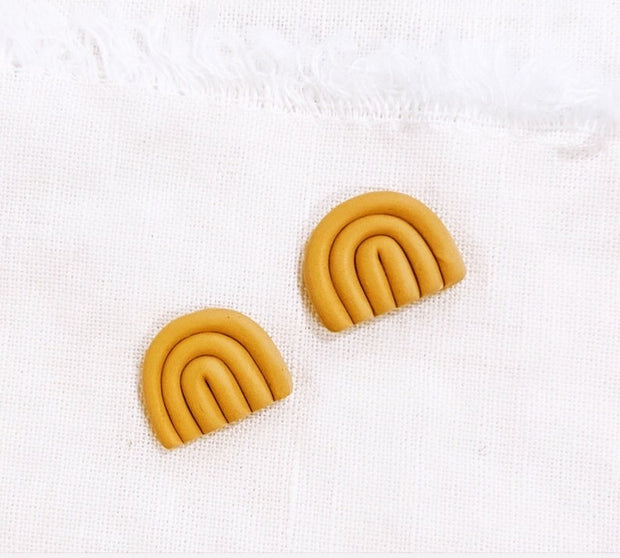 Mustard Yellow Mini Rainbow Studs - Polymer Clay