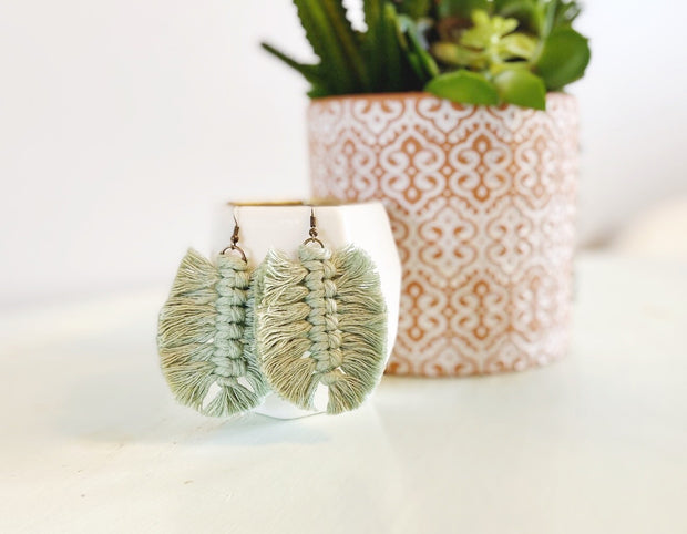 Sage Green Feather Macrame Earrings