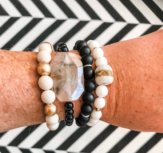 Dendrite Quartz + White Konte Bracelet Stack -- (Set of 4)