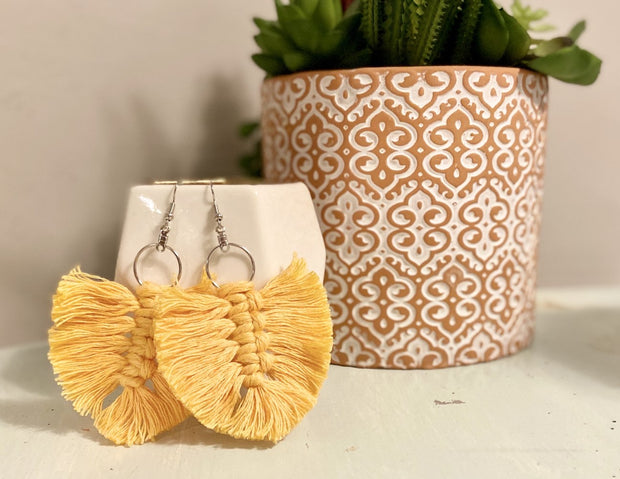 Mustard Yellow Feather Macrame Earrings