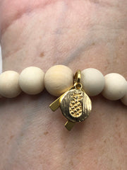 Geometric White Agate + Fossil + Gold -- Freedom Bracelet