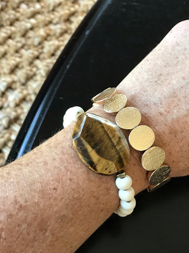 Tiger's Eye + Fossil Wrist Art --  Freedom Bracelet