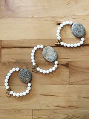 Chrysanthemum Stone + Clam Shell Wrist Art -- Freedom Bracelet