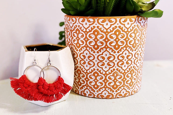 Red Round Macrame Earrings