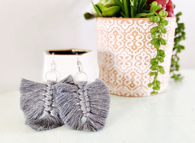 Storm Grey Feather Macrame Earrings
