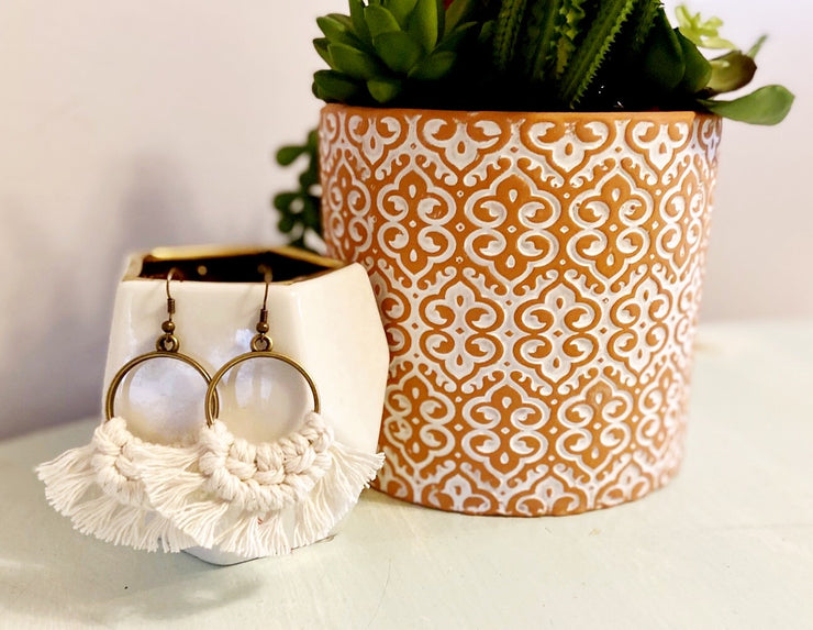 Cream Round Macrame Earrings