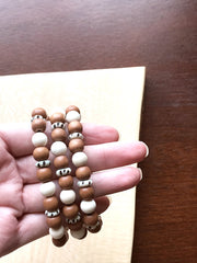 Disk Bone + Wood -- Ripple Freedom Bracelet