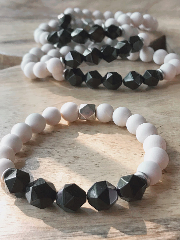 Geometric Black Agate and Fossil -- Ripple Freedom Bracelet