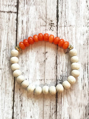 Orange Jade + Wood -- Diffuser Freedom Bracelet
