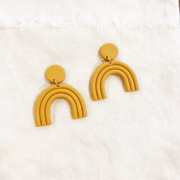 Golden Yellow Rainbow Earrings - Polymer Clay