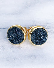 Navy + Gold Druzy Stud Earrings