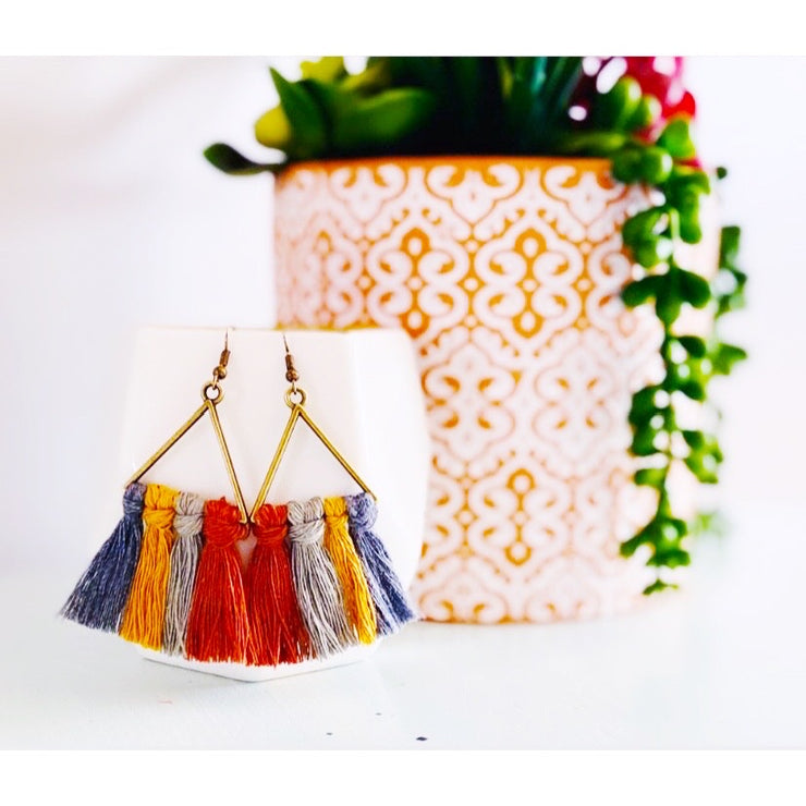 Warm Multicolor Triangle Macrame Earrings