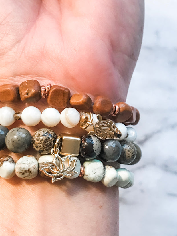 Dendritic Quartz + White Jade | Freedom Bracelet