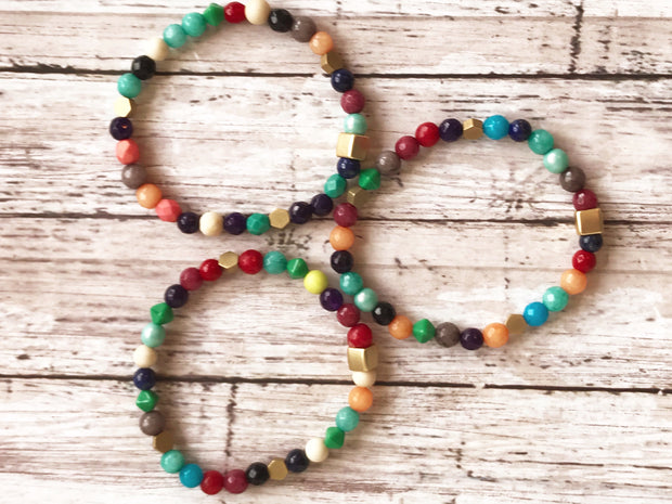 Multicolored Stone + Glass  -- Ripple Freedom Bracelet