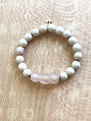 Peach Java Glass + Fossil Stone -- Ripple Freedom Bracelet