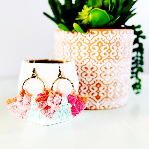 Pinks + Aqua Multicolor Round Macrame Earrings