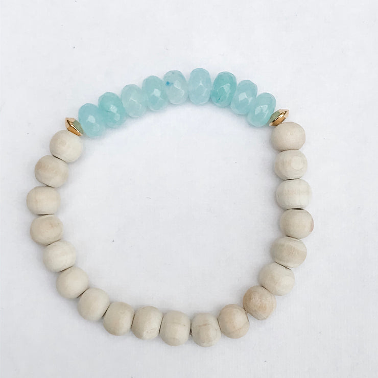 Sky Blus Glass + Wood (Diffuser Bracelet)