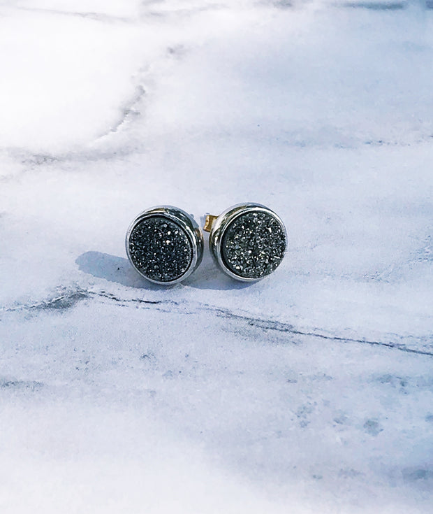 Grey + Silver Druzy Stud Earrings