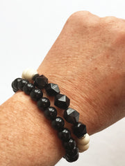 Black Agate Stone (Matte or Lacquer) Freedom Bracelet (stacking bracelet)