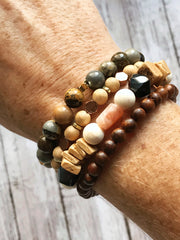 Sandstone + Coconut Wood --  Bracelet Stacking Set (Set of 4)