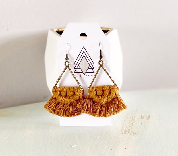 Mustard Triangle Macrame Earrings